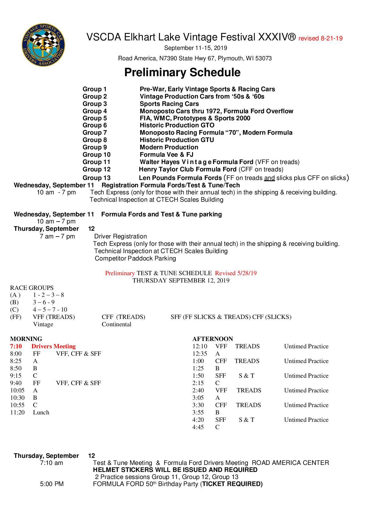 ELVF schedule